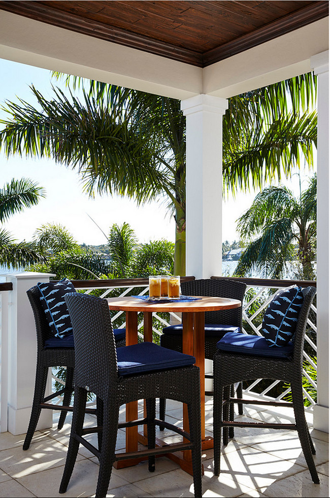 Patio Bistro Set. Coastal Patio Bistro Set Furniture. #Patio #BistroSet JMA Interior Design.