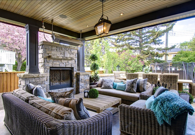 Patio Design Ideas. Patio with comfortable and stylish patio furniture, outdoor fireplace and great outdoor decor. #Patio #PatioIdeas #PatioDecor #PatioFurniture #PatioIdeas