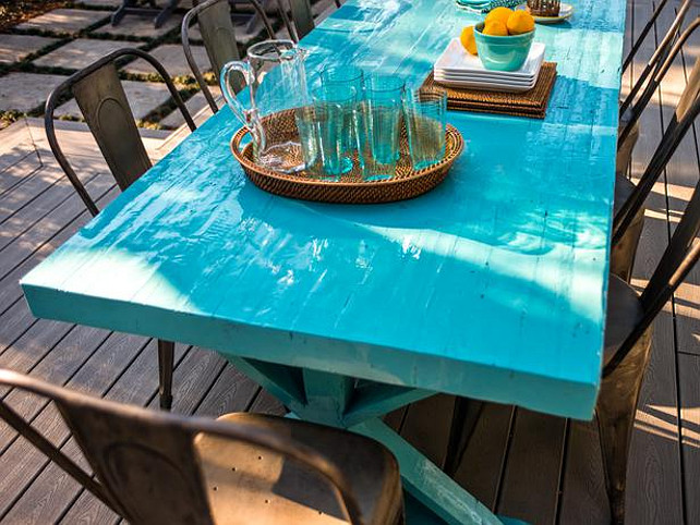 Patio Furniture Ideas. Great turquoise Trestle table. #Patio #Furniture