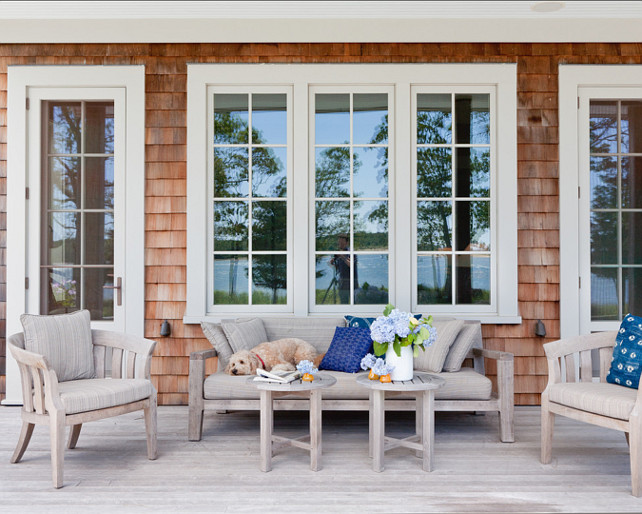 "Patio Furniture ideas #PatioFurniture Deck is naturally weathered mahogany.  Shingles are western red cedar shingles.  Patio Furniture is from ""Holly Hunt"".  #Patio #patioDecor"