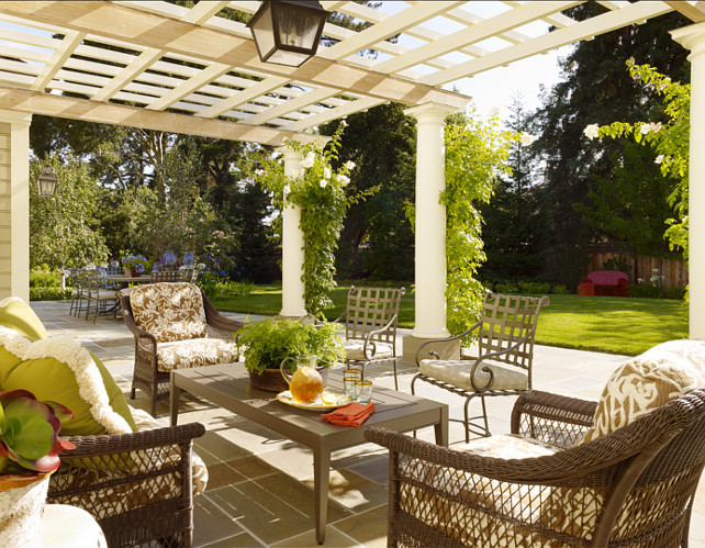Patio Ideas. Classic patio with pergola and stone floors. #PatioIdeas #PatioDesign #Patio #Pergola