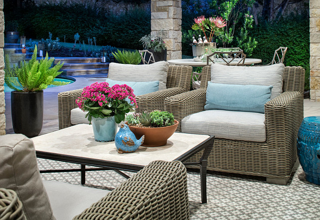 Patio. Beautiul stone covered patio with patio furniture and natural decor. #Patio Martha O'Hara Interiors.