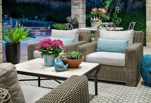 Patio. Beautiul stone covered patio with patio furniture and natural decor. #Patio Martha O'Hara Interiors.