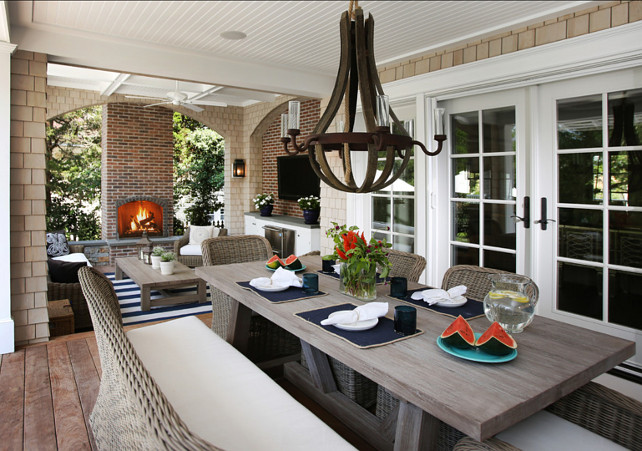 Patio. Patio Decorating Ideas. This is the ultimate patio. This patio is perfect for entertaining with comfortable patio furniture and a cozy outdoor fireplace. #Patio #PatioDecoratingIdeas #PatioDecor #patioFurniture