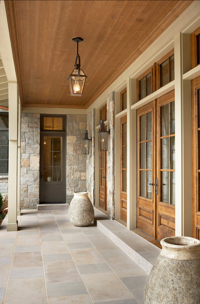 Top Back Porch Pin The stone on the house is known locally as Hooper's Creek, a type of granite. Patio. Patio Idea. Patio Flooring is Indiana Limestone, full color blend. 18x36 and 18x18 pieces. #patio #PatioIdeas #Limestone