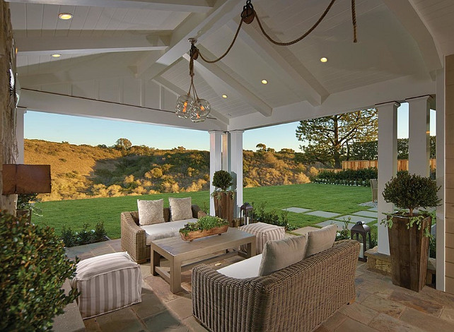 Patio. Patio Ideas. Gorgeous covered patio open to backyard. A DIY lighting project can be done with the Mason Glass Globe Filament Pendant from Restoration Hardware. #Patio #patioIdeas #PatioDesign #PatioDecor