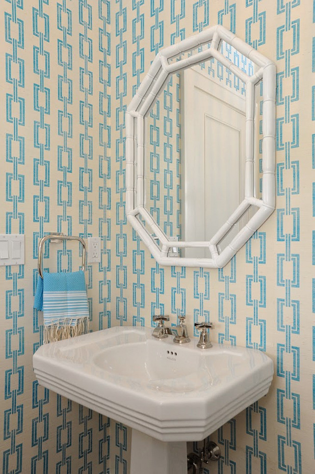 Phillip Jeffries Wallpaper. Chain Link 5641 in Aqua on Ivory Manila Hemp Phillip Jeffries. Nina Liddle Design. The wallpaper in this turquoise powder room is the Chain Link 5641 in Aqua on Ivory Manila Hemp by Phillip Jeffries.