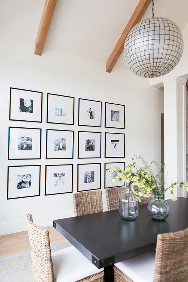 Photo Wall. Black and White Photo Wall. Dining room with black and white photo wall gallery. #Blackandwhite #WallPhoto #WallPhotoWall #WallPhotoWallGalley