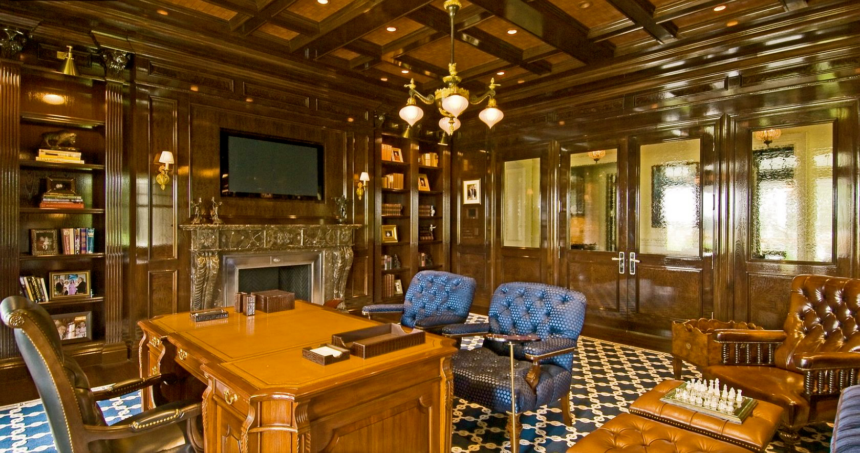 Stunning and masculine walnut library. title=