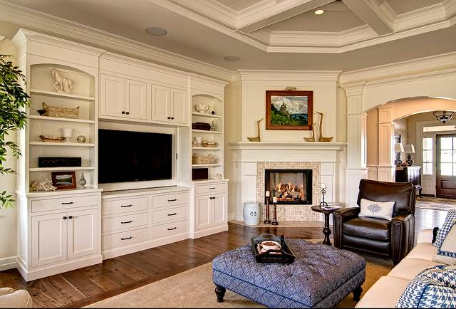 Well designed home by farinelli construction home bunch for Family room built in cabinet ideas