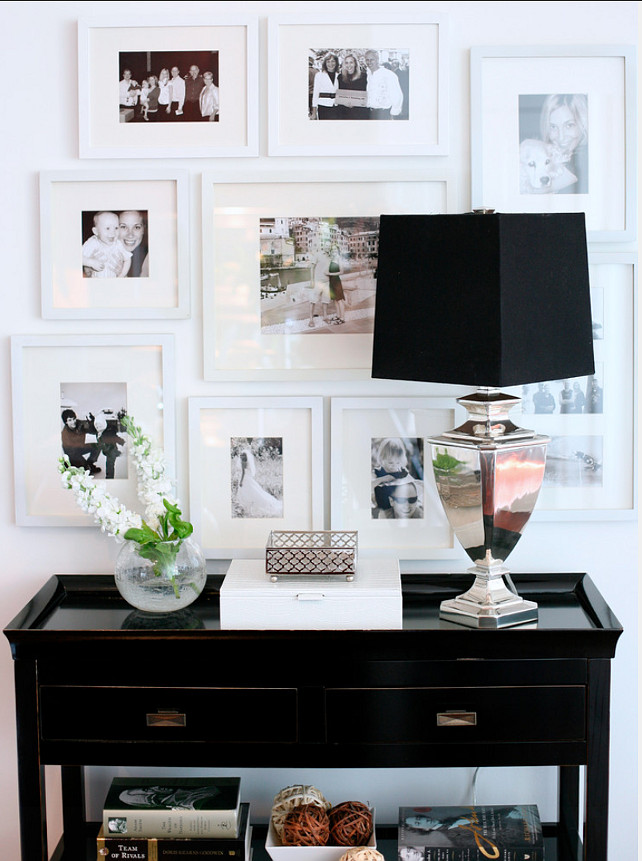Picture Arrangement. Great Picture Frame Arrangement Design. #PictureArrangement #PictureFrame #PictureGalleryIdeas #PictureGallery Kerrisdale Design Inc.
