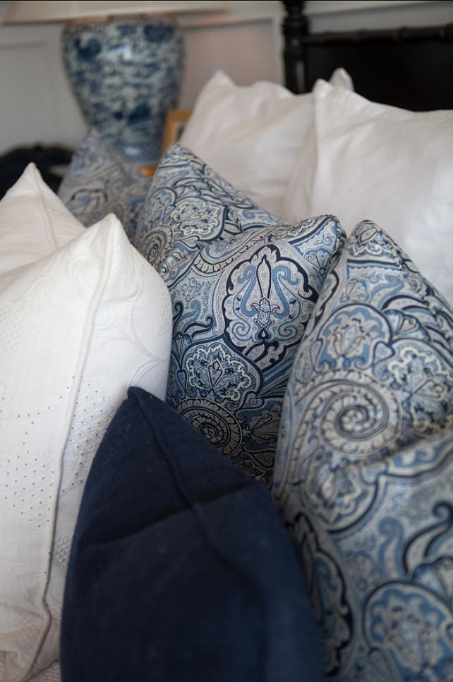 Pillow Fabric Ideas. Blue and white pillow fabrics. #Pillow #Fabrics