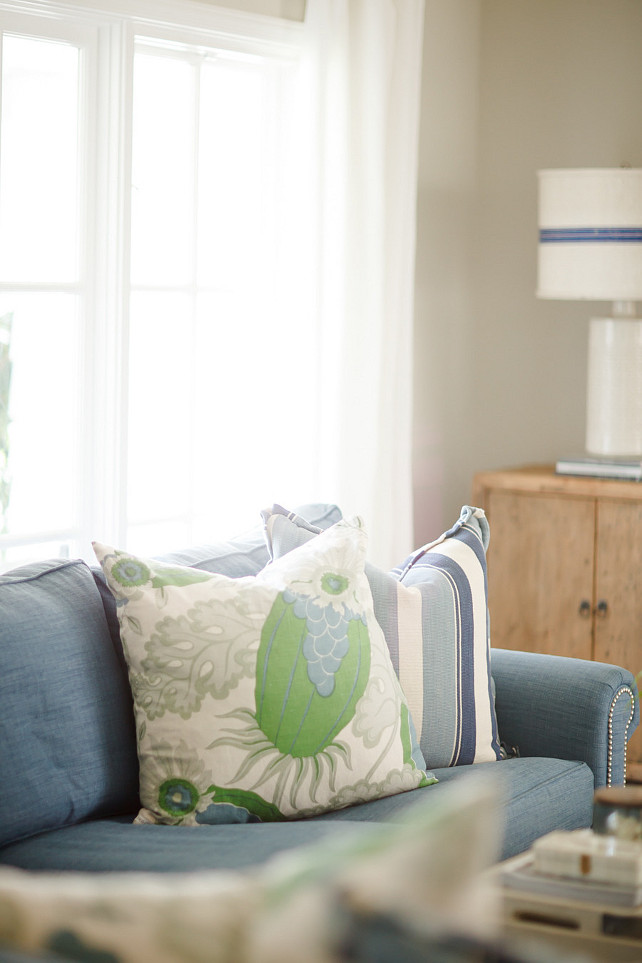Pillow Fabric Ideas. How to bring a coastal feel to your living room with pillows. Pillow Fabric. Coastal. Living Room Brooke Wagner Design.