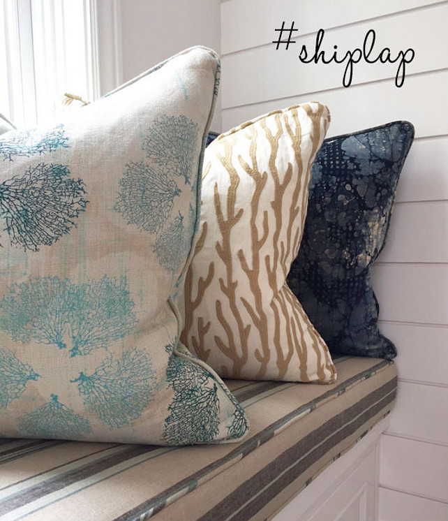 Pillows. Coastal Pillows. Coastal Pillow Ideas. Coastal Pillow on window seat. Coastal Pillow Combo. Coastal Pillow fabrics. Coastal pillows and shiplap walls. #CoastalPillow #CoastalPillows Blackband Design.
