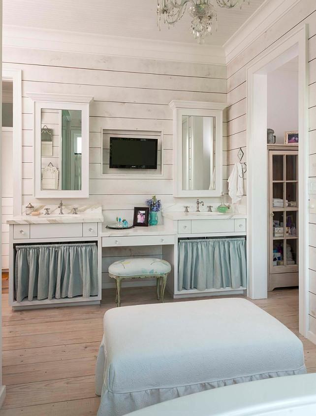 Plank Walls Bathroom. Bathroom with plank walls and skirted vanities. #PlankWalls #Bathroom #SkirtedSink #SkirtedVanities #BathroomPlankWalls