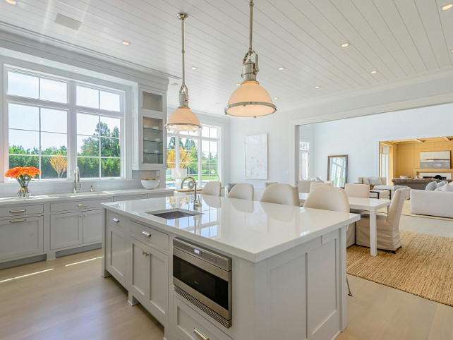 Planked Ceiling. Kitchen with Planked Ceiling. Pale Gray Kitchen with Planked Ceiling. #kitchen #PlankedCeiling Sotheby's Homes.