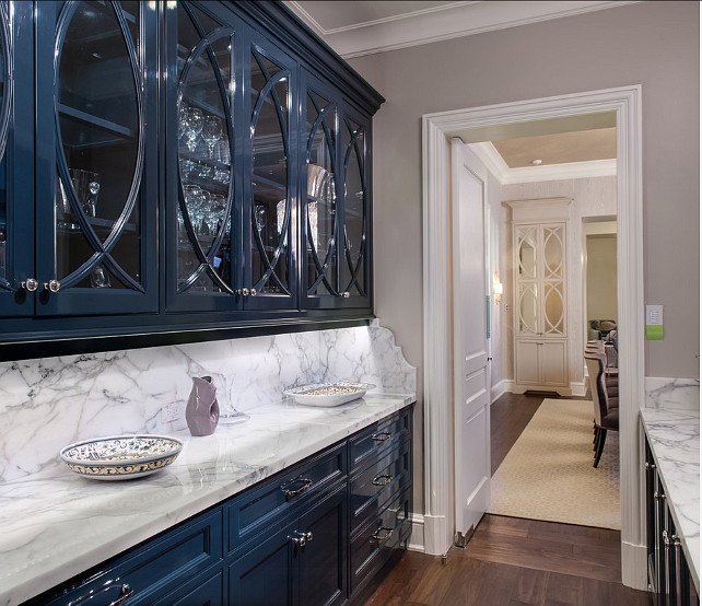 Butler's Pantry. Butler's Pantry with inspiring cabinet design and marble countertop. #ButlersPantry