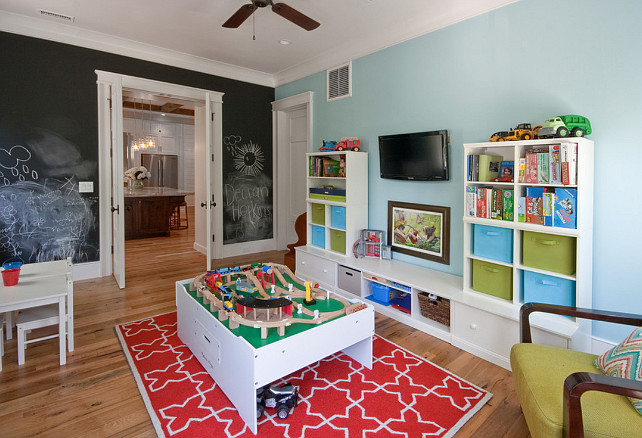 Playroom. Blue paint color. Chalkboard paint. Playroom Paint Color. Playroom Layout. Playroom Design. Playroom Furniture.