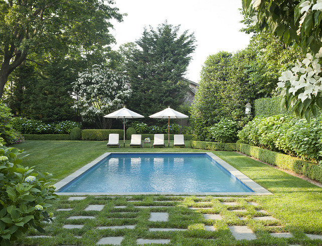 Pool Backyard. Classic Pool backyard Ideas. Pool backyard with mature landscaping in the Hamptons. #Pool #Backyard #ClassicPool Jenny Wolf Interiors.