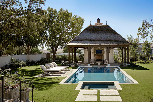 Pool Backyard. Pool Backyard and Pool House. #Pool #PoolHouse #Backyard Palm Design Group.