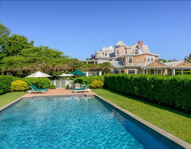 Pool Design Ideas. Classic Southampton Home with pool. #Pool #PoolIdeas #PoolDesign