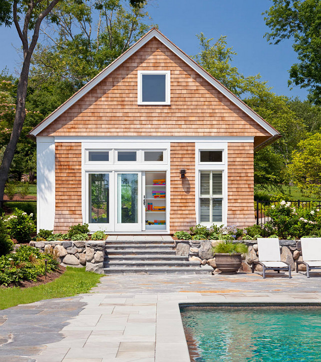 Pool House Exterior. Shingle Pool House Exterior. #PoolHouse #Exterior #Shingle Anthony Crisafulli Photography. Gale Goff Architect.