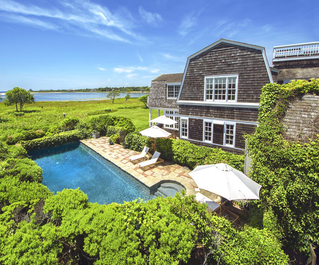 Pool and Ocean. Oceanfront Hamptons house with pool and view. #Pool #Ocean #HouseforSale #Hamptons Via Sotheby's Homes.