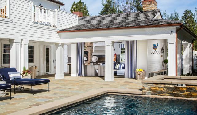 Pool backyard with entertaining area. Legacy Custom Homes, Inc.
