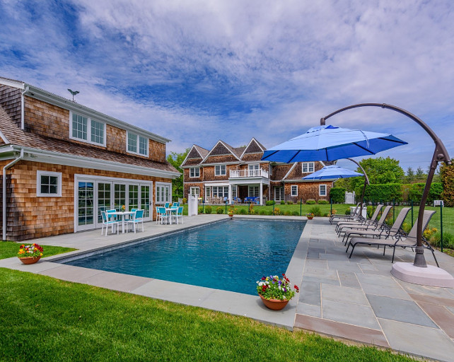 Pool. Backyard with pool. Flat backyard with pool and natural stone pool surround. #pool #PoolSurround #Backyard #FencedinPool  Via Sotheby's Homes.