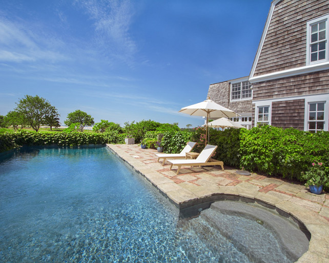 Pool. Pool on the side of the house. The pool of this beach house in the Hamptons is located on the side of the house for better convinience. #Pool