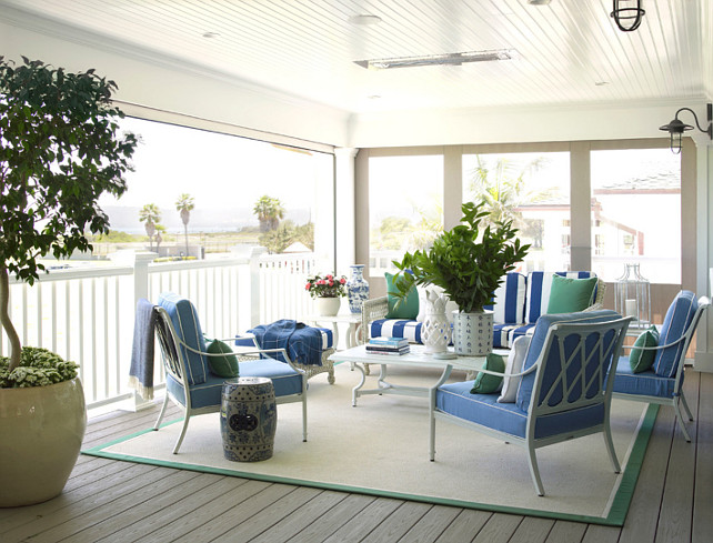 Porch Furniture Ideas. Outdoor Furniture Ideas. The porch is furnished with weather-resistant furniture by Frontgate upholstered in Sunbrella fabrics. Burnham Design. #Porch #OutdoorFurniture