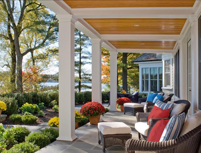 Porch Ideas. Beautiful porch decorarting ideas. The porch floor is blue stone. #Porch #PorchIdeas #PorchDecor