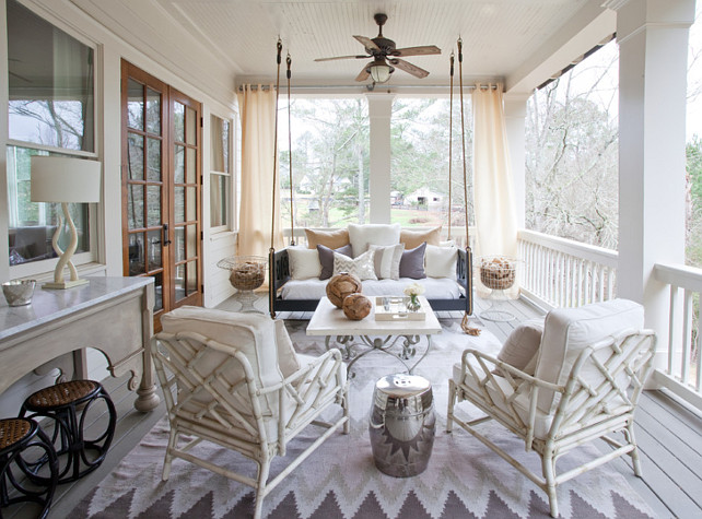 Porch Swing. Back Porch with porch swing. Porch Swing pillows. Porch Swing Cushion. #PorchSwing Lindsey Hene Interiors.