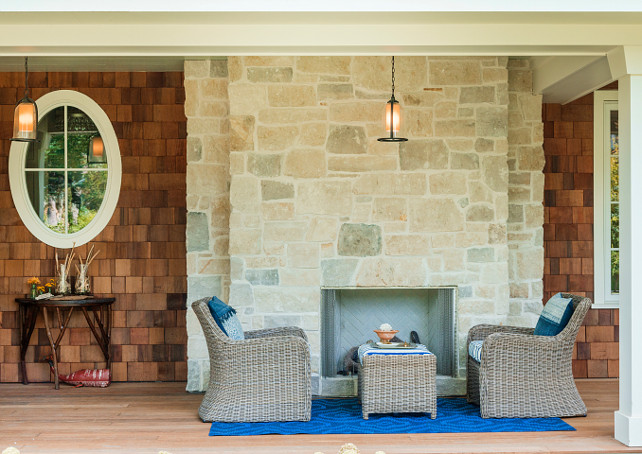 Porch with fireplace. Porch with outdoor fireplace. Natural stone fireplace in porch. Backyard #Porch #Fireplace #NaturalStone #Backyard