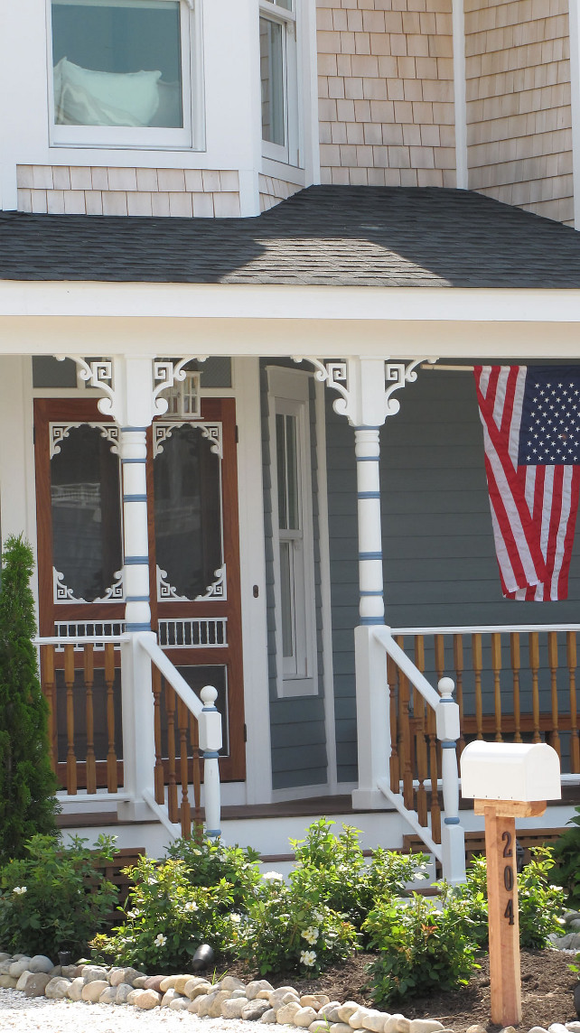 Porch. Porch with flag. Porch Landscaping. Porch stairs. #Porch #FrontPorch #Flag