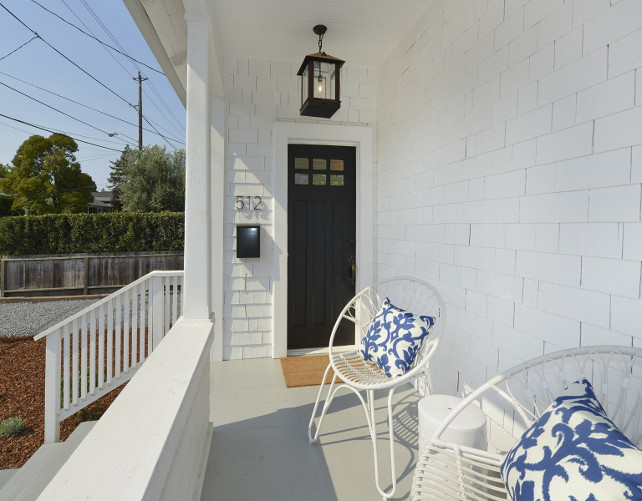 Porch. Porch with white chairs. Porch with white chair with blue and white pillows. #Porch #FrontPorch #WhiteChairs