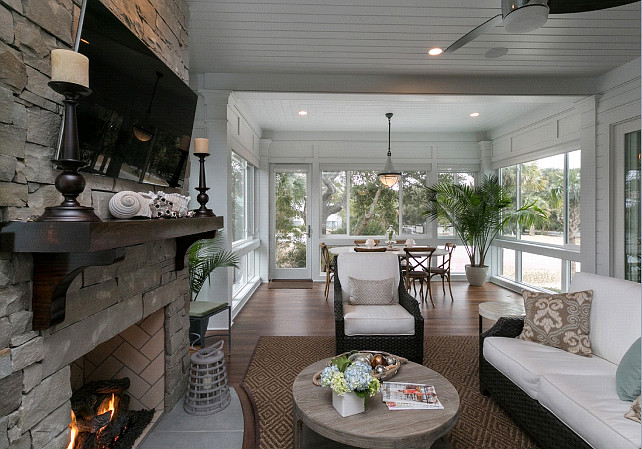 Porch. This Screened Porch is perfect in any kind of weather. #Porch #ScreenedPorch #Sunroom
