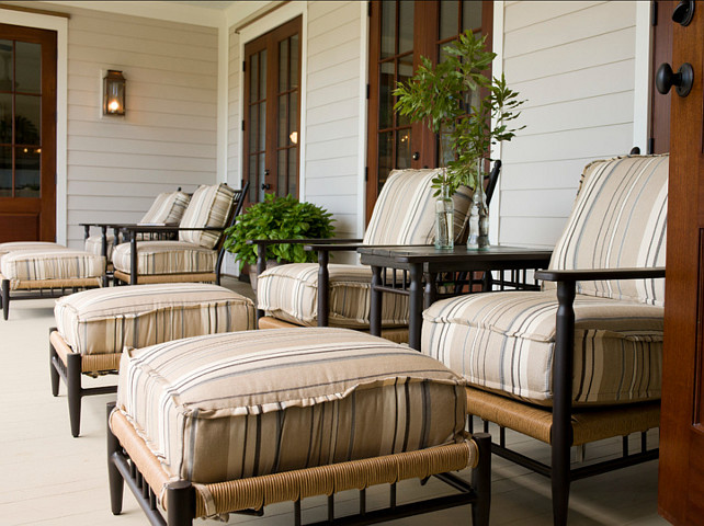 Porch. Wonderful back porch for chillin' and relaxing. Patio furniture is by Lloyd Flanders Coastal Living Low Country Collection. #Porch #OutdoorFurniture