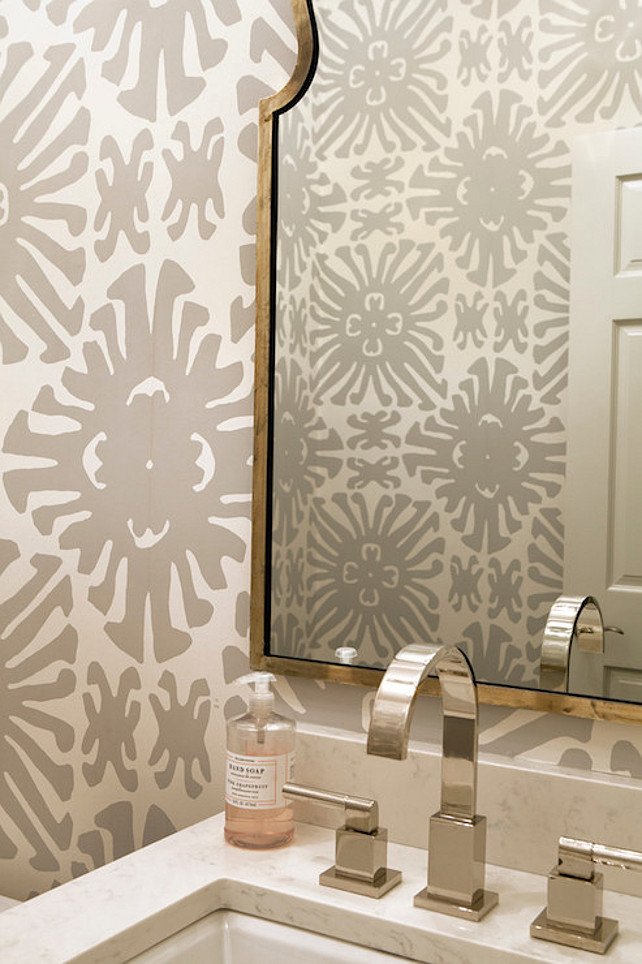 Bathrooms on pinterest powder rooms wallpapers and sconces for Beautiful room wallpaper
