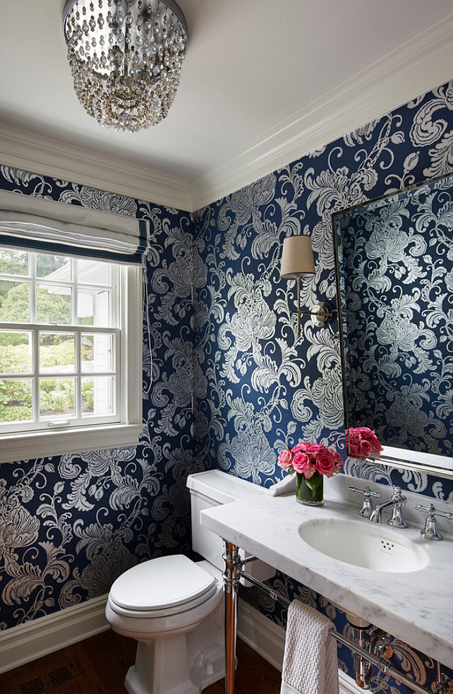 Powder Room Wallpaper. Powder Room with Navy Wallpaper. #Navy #Wallpaper #PowderRoom Martha O'Hara Interiors.