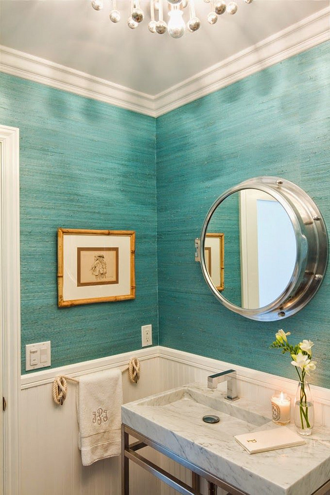 Powder Room wallpaper. Grasscloth wallpaper in powder room. Brittney Nielsen Interior Design.