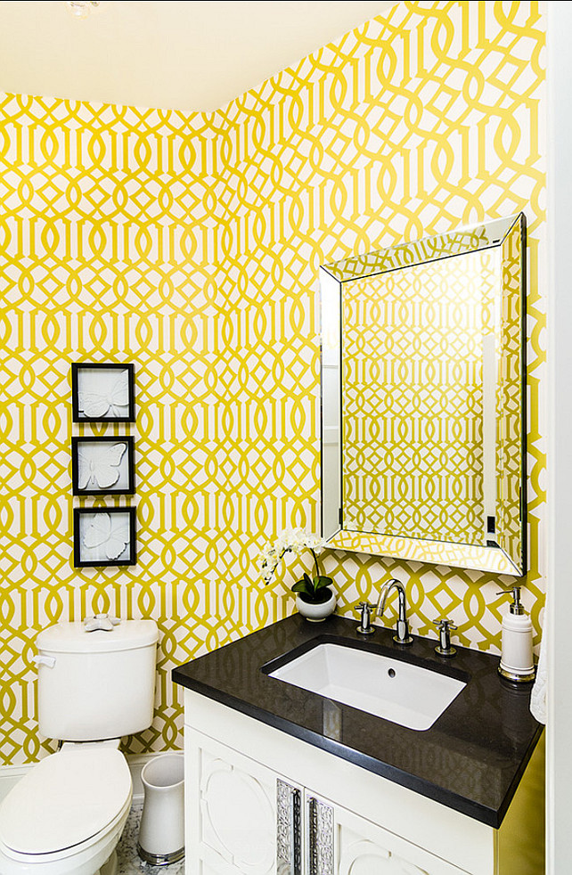 Powder Room with wallpaper. Wallpaper is the Kelly Wearstler's Imperial Trellis Wallpaper.