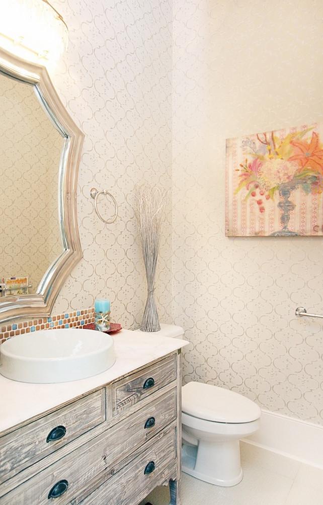 Powder Room. Podwer Room with wallpaper. #PowderRoom #Wallpaper