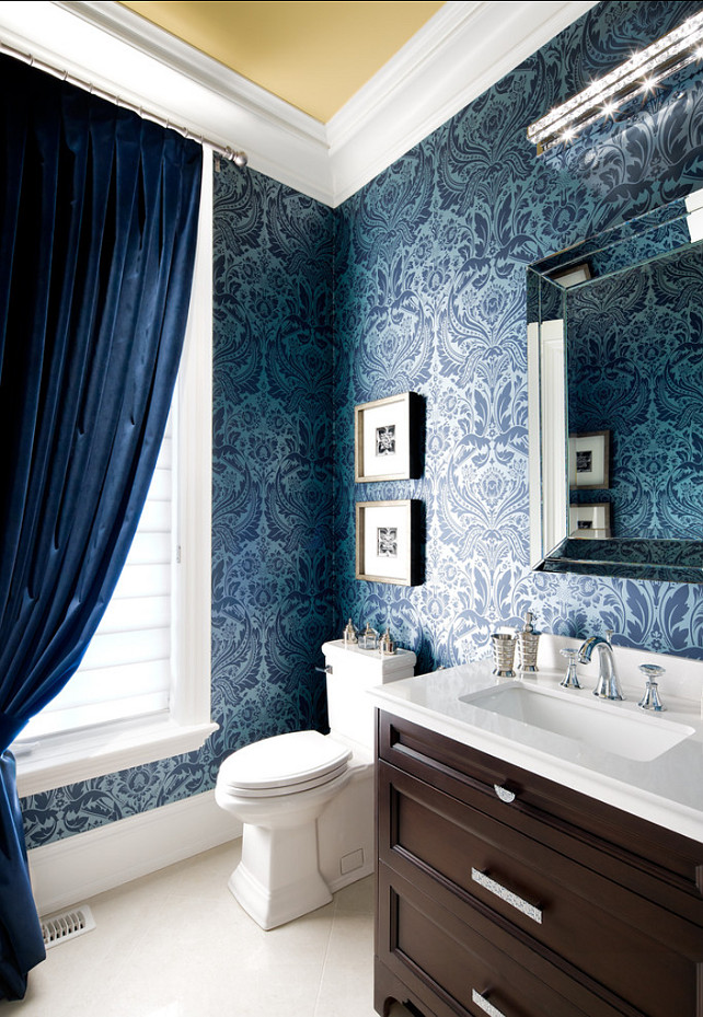"Powder Room. Powder Room Design. Power Room damask wallpaper from Graham and Brown (50-188) and velvet draperies from Robert Allen Design. Ceiling in Benjamin Moore ""Sulfur Yellow"" 2151-40. Designed by Jane Lockhart.."