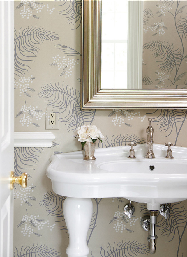 Powder Room. Powder Room Ideas Powder room with wallpaper. #PowderRoom #PowderRoomIdeas #PowderRoomDesign.