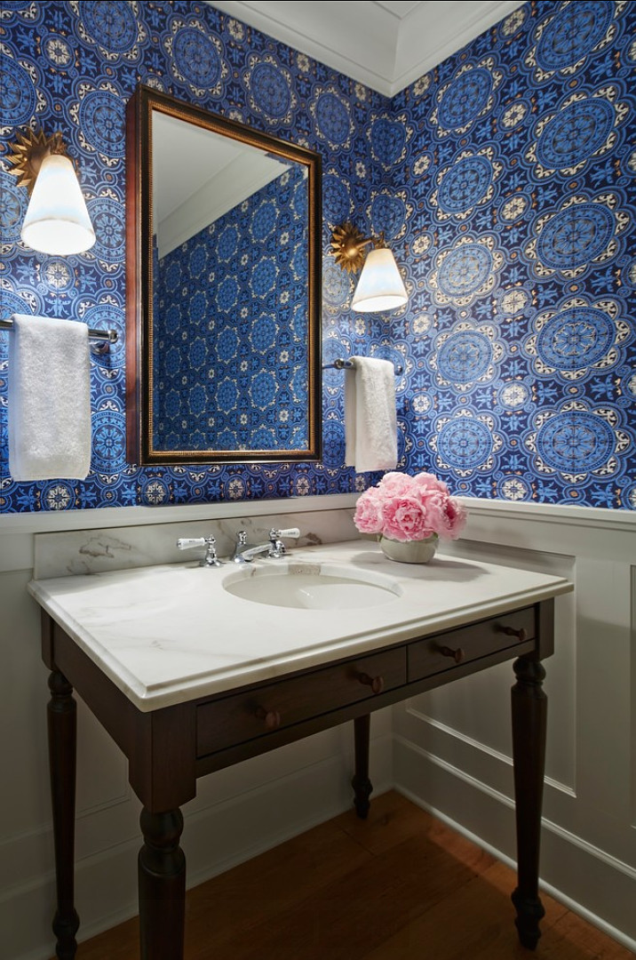 Powder Room. Powder Room with Wallpaper. The wallpaper in this powder room is a The Cole & Sons wallpaper. Sconces are Robert Abbey sconces. #PowderRoom #PowderRoomDesign #Wallpaper #WallpaperIdeas Designed by Martha O'Hara Inte