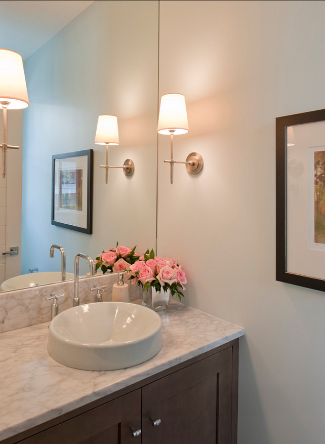 "Powder Room. Small Powder Room Desgn. Great small powder room ideas. ""Sconces are the Bryant Sconce by Thomas O'Brien"". #PowderRoom #PowderRoomIdeas #PowderRoomDesign #SmallPowderRoom"