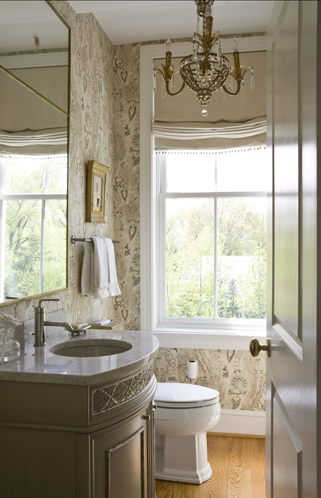 Powder Room. Traditional Powder Room Design. Powder room with wallpaper. #PowderRoom #TraditionalPowderRoom  2 Ivy Lane.