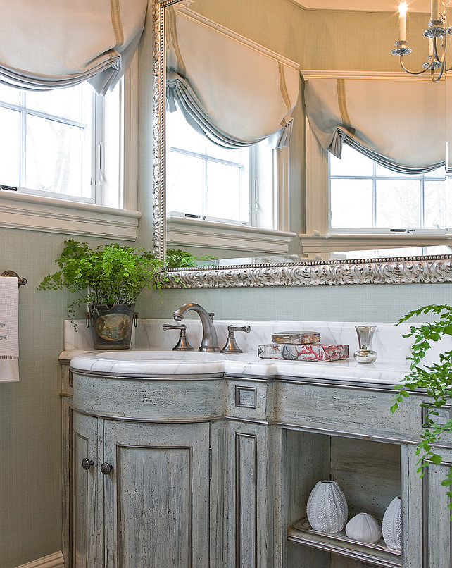 Powder Room. Traditional Powder Room. Traditional Powder Room with custom vanity, marble counter top and seafoam grasscloth wallpaper. #PowderRoom Anita Clark Design.