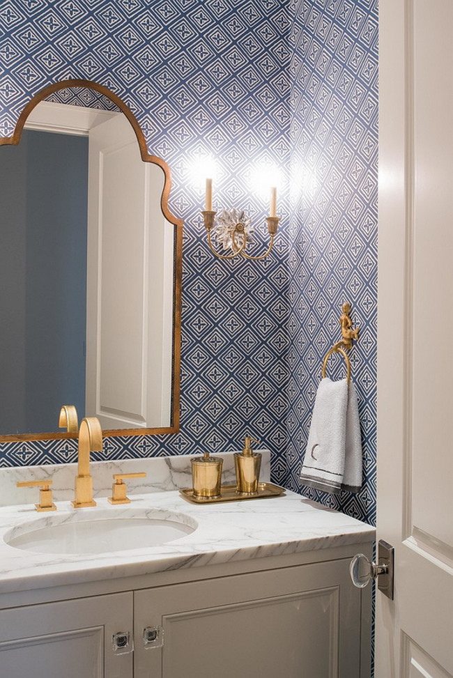 Powder room. Blue and white Powder room wallpaper. Blue and white wallpaper. Sconces are from Visual Comfort. #PowderRoom #Blueandwhite #NavyWallpaper #Wallpaper #Sconces L. Lumpkins Architect, Inc.
